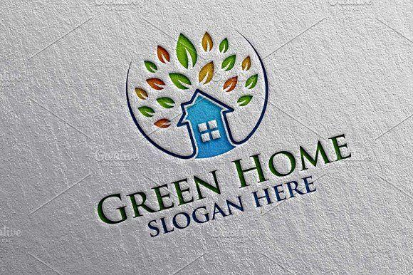 Green Home, Oak Real estate Logo by denayunebgt on @creativemarket