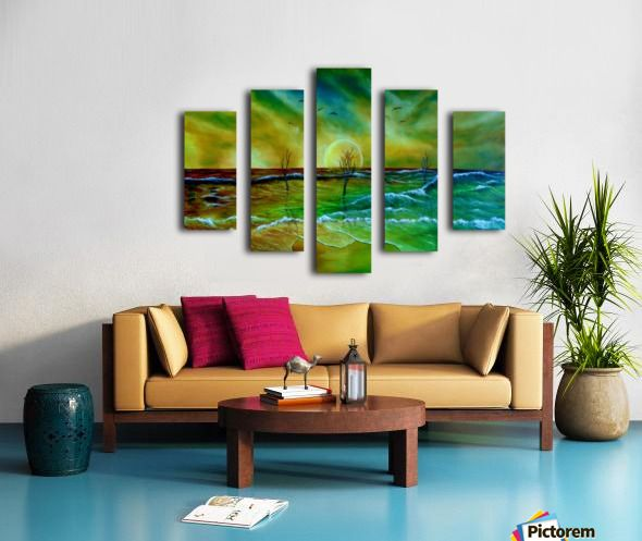 Fine Art, for sale, online, oil painting,  contemporary, whimsical, magical,  imaginary, realism, fantasy, colorful, green, golden, blue, colorful, coastal scene, waves, ocean, sandy beach, shore, seaside, seascape,  sky, sunset, surreal, atmospheric, theme,  water,summer, by the sea, beautiful, nostalgic, poetic, canvas print