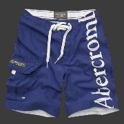 Abercrombie And Fitch azul marino y blanco Hombres cortocircuito
