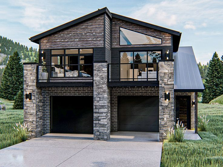 050g 0097 Modern 2 Car Garage Plan With 2 Bedroom Apartment In