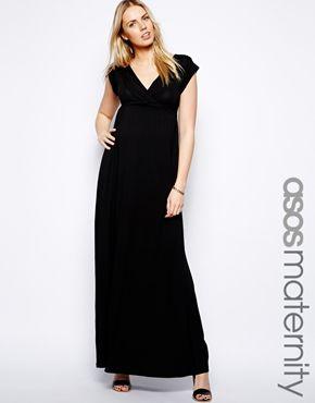 Ingrandisci Esclusiva ASOS Maternity - Vestito extra lungo drappeggiato con laccetti