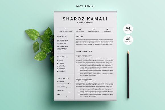Word Resume  Cover Letter 4 Pages P Resume cover letters, Resume