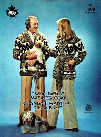 buffalo 300, white buffalo sweater coats, sizes 34 to 44 inch chest, pdf pattern
