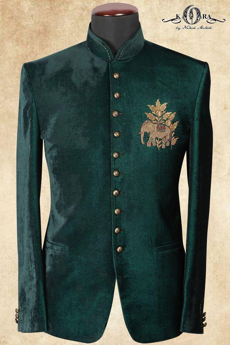 Teal Green Velvet Zardosi Embroidered Jodhpuri Suits-ST684