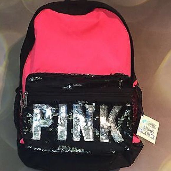 Brand new Victoria's Secret pink backpack Neon pink and black Back pack PINK in sequence brand new Other