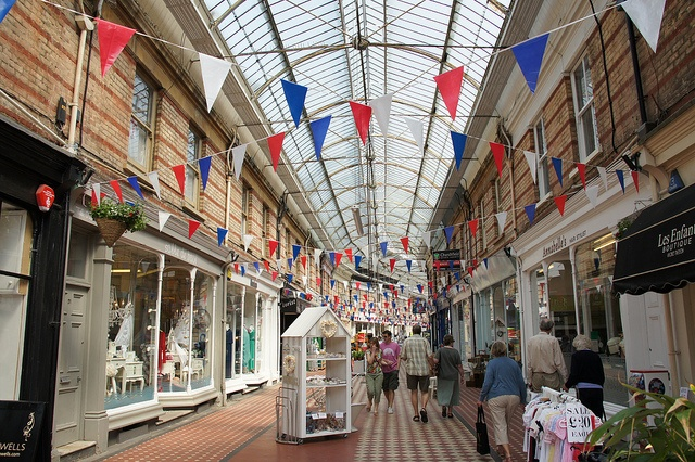 Bunting in the Arcade, Westbourne, Bournemouth, Dorset