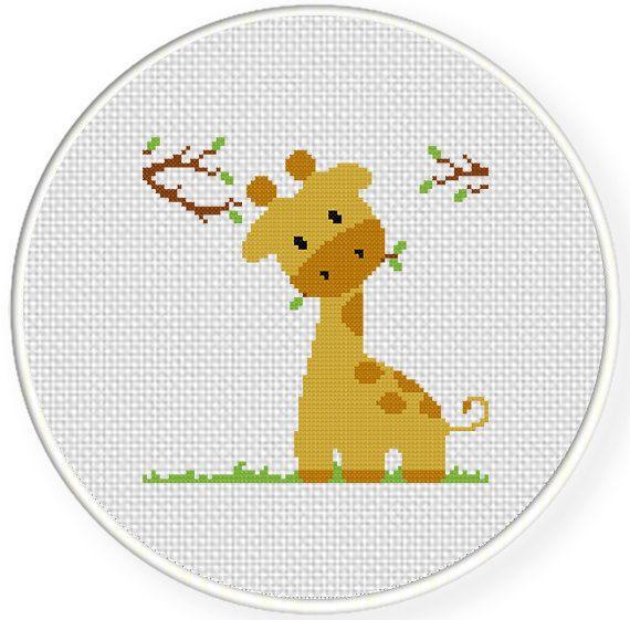 INSTANT DOWNLOAD Stitch Giraffe Eating PDF Cross Stitch Pattern Needlecraft ----------------------------------------------------- Pattern: