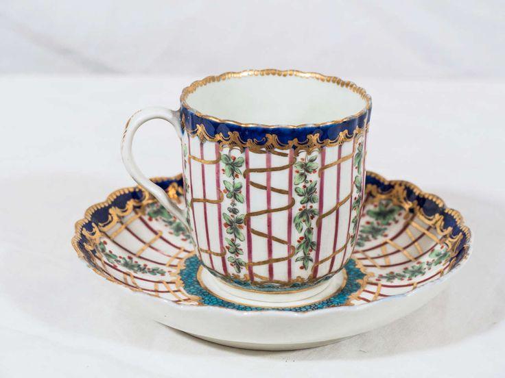 First Period Worcester Porcelain Hop Trellis Cup and Saucer 2