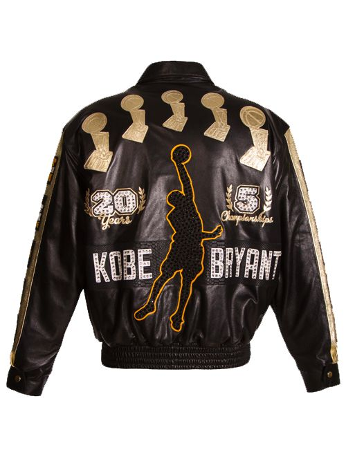 LOS ANGELES LAKERS LIMITED EDITION KOBE BRYANT 24 STONED LAMBSKIN JACKET-$5,824.00 - Limited Edition only 24 units in existence Exclusive indivisually numbered JH Design plaque on the inside of the jacket Decorated with 5 gold leather NBA Finals Championship trophies Italian lamb skin with snakeskin embossed accents Leather collar, cuffs, and waistband Classic button down jacket