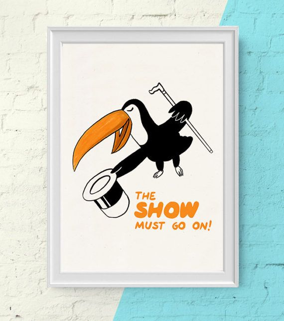 The Toucan Show funny bird nursery decor, Nursery toucan animal prints. Kids room wall art. Tropical Giclee print, Jungle animals print NA09