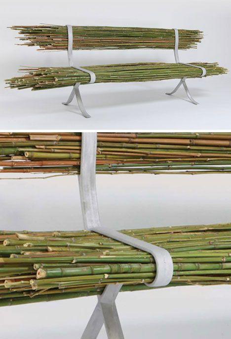 Bamboo Bench raw wood aluminum bench furniture design eco design