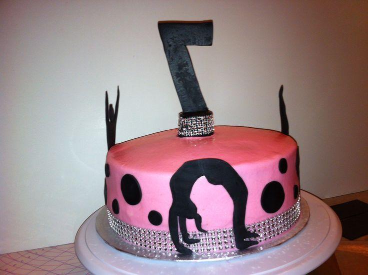 Pink Bling Gymnastics birthday cake by yuMM