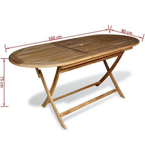 Teak Wood Foding Dining Table Large Outdoor Patio Home Furniture Umbrella Hole  #VXLDealsMarket