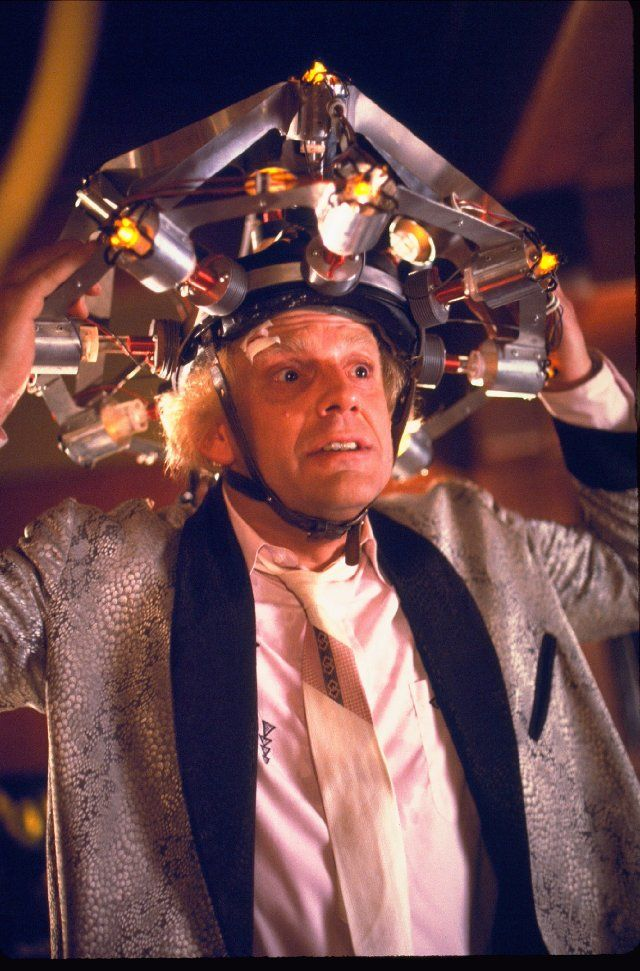 "Dr. Emmett Brown played by Christopher Lloyd in ""Back to the Future"""