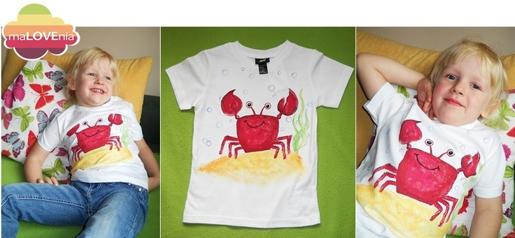 T-shirt with red crab (hand painted)