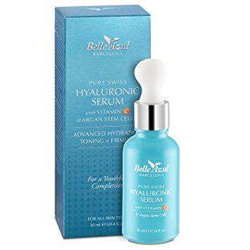 Belle Azul Serum facial de ácido hialurónico puro de alta calidad suiza con Vitamina C y células madre de Argán Hidrata, tonifica y reafirma 30Mililiter