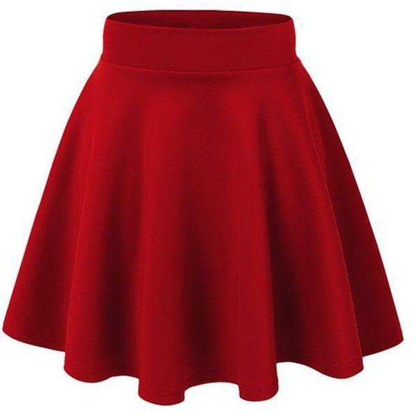 ACEVOG Women's Stretch Waist Flared Skater Skirt Dress Mini Skirt 15... ($6.99) ❤ liked on Polyvore featuring skirts, mini skirts, bottoms, dresses, saias, red, mini skater skirt, red skater skirt, red circle skirt and short skirts