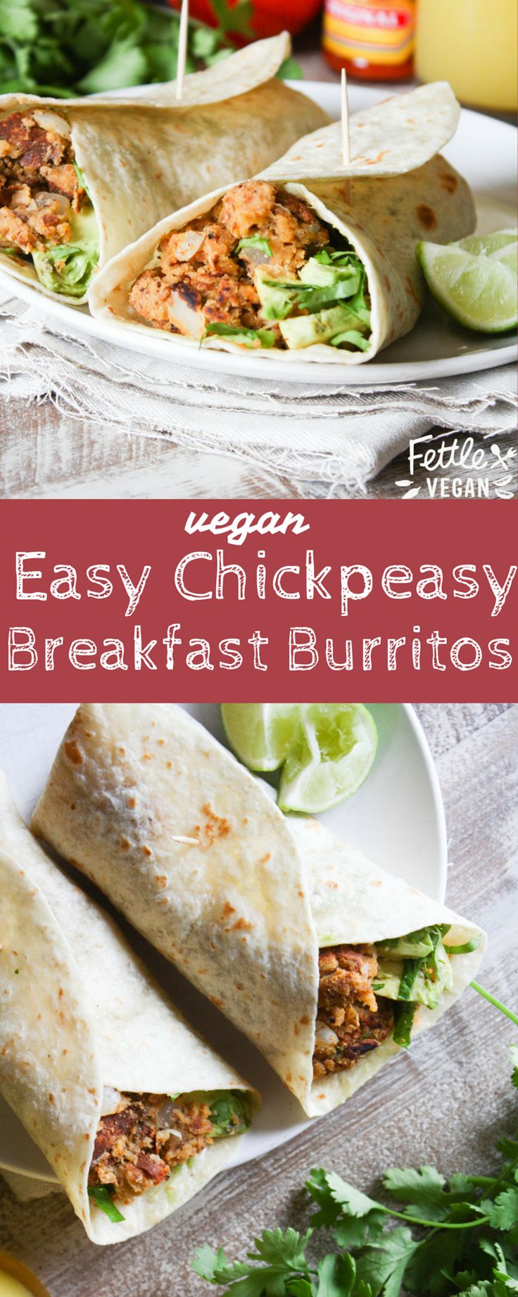 Easy Chickpeasy Breakfast Burritos - packed with #plantbased protein! #vegan