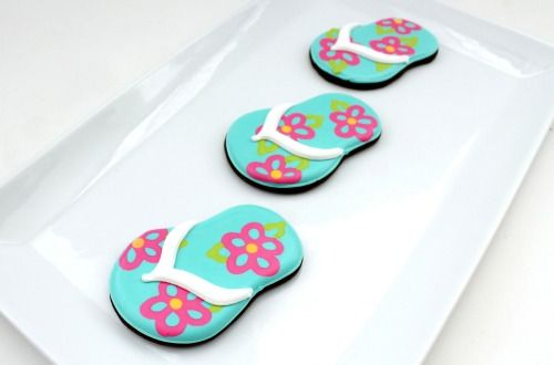 So cute for a pool party.  Flip Flop Cookies with Sweet Sugar Belle from Tidy Mom