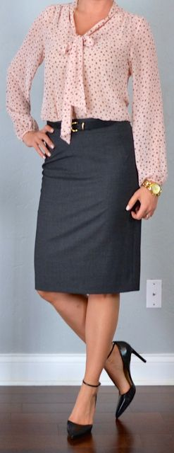 Outfit Posts: outfit post: pink tie front blouse, grey pencil skirt, black pointed toe heels