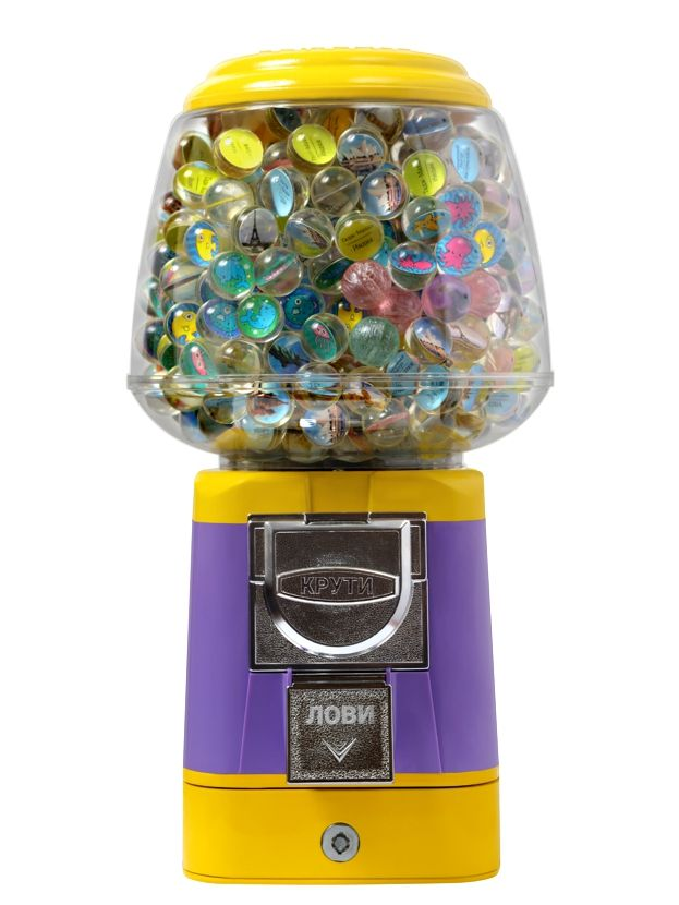 орговый автомат Арбуз компании Global Gumball предназначен для продажи игрушек в капсулах, мячей прыгунов, марблс, порционных товаров или жевательной резинки.