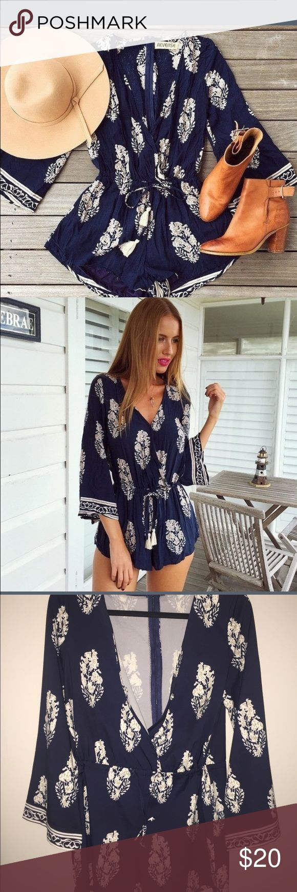 Summer Jumper Hey ladies check out this number! It's cute and fun summer jumper! It deep blue and sheer material. Flowy long sleeve arms and emphasis waist the waist. Other