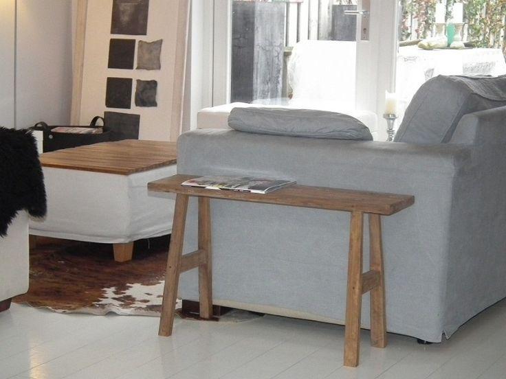 Oud houten bankje 80 cm, java.  For the Home  Pinterest