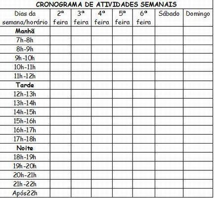 Cronograma de programação de atividades diárias