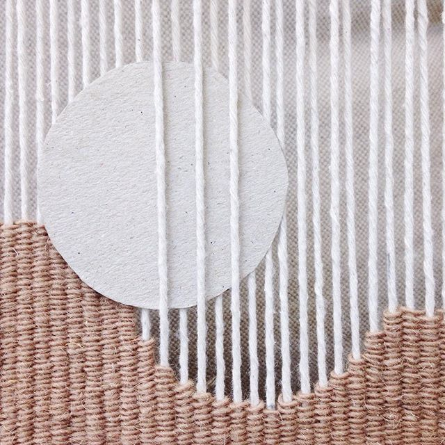 weaving a curve, soon to be a circle #weaving #loom #ontheloom #wip #workinprogress #inthestudio #handweaving #handwoven #tapestry #textile #warp #weft #handmade #craft #design #process #simplicity #minimal #geometric #independent #maker #vscocam