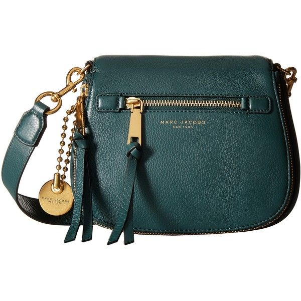 Marc Jacobs Recruit Small Saddle Bag (Green Jewel) Handbags (31270 RSD) ❤ liked on Polyvore featuring bags, handbags, shoulder bags, green, blue leather purse, man bag, marc jacobs handbags, leather man bags and saddle bags