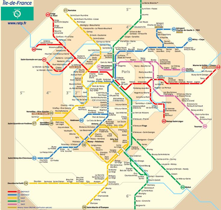 Public transportation in France is very strong and their trains are fast and on time. This map shows all the routes and stations of the trains in Paris.