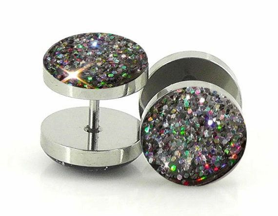 Silver Holographic Fake Plugs: not a fan of fake plugs, but these are pretty :)