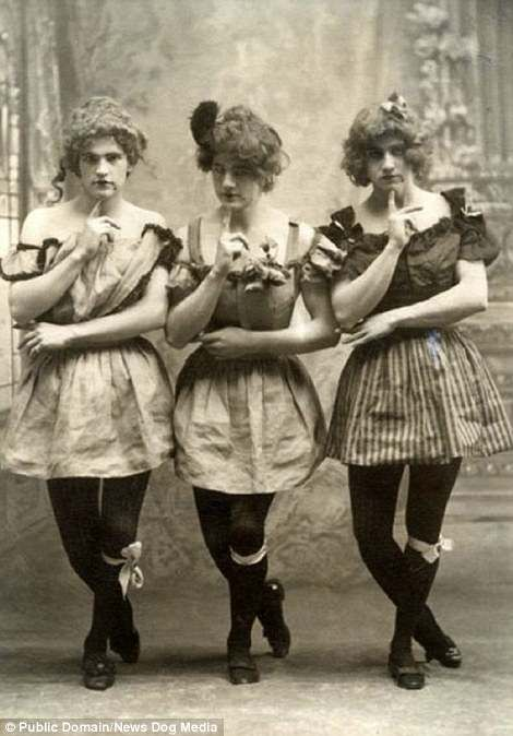 Three male students at Yale University in Connecticut in 1883 were seen cross-dressing...