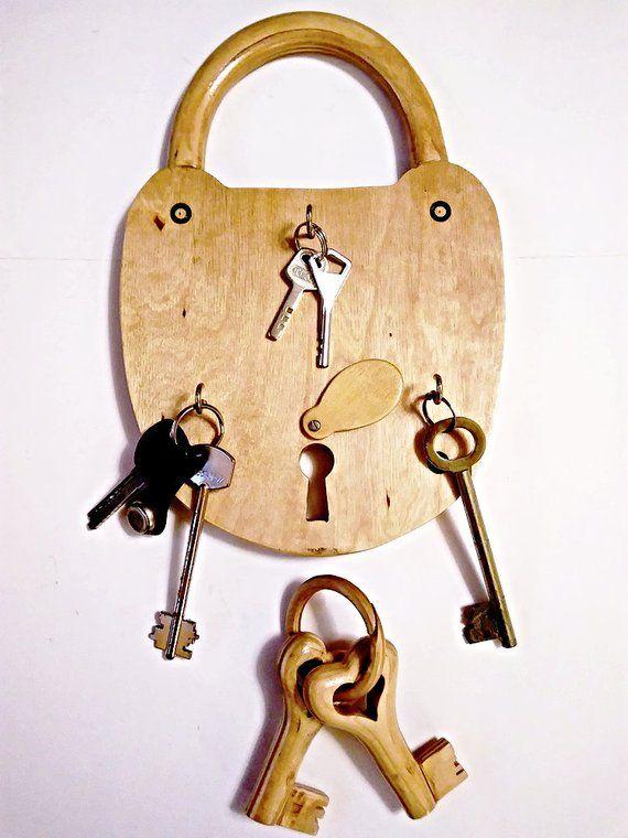 Hanging Key Holder Wooden Lock And 2 Keys Three Hooked Family Keychain Wedding Gift Housewarming Or Anniversary Gift Custom Key Hanger ไอเด ย