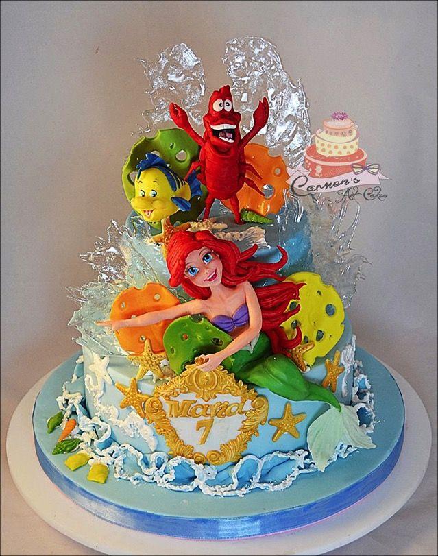 Superb Wonderful Little Mermaid 7Th Birthday Cake Mermaid Cakes Disney Birthday Cards Printable Giouspongecafe Filternl