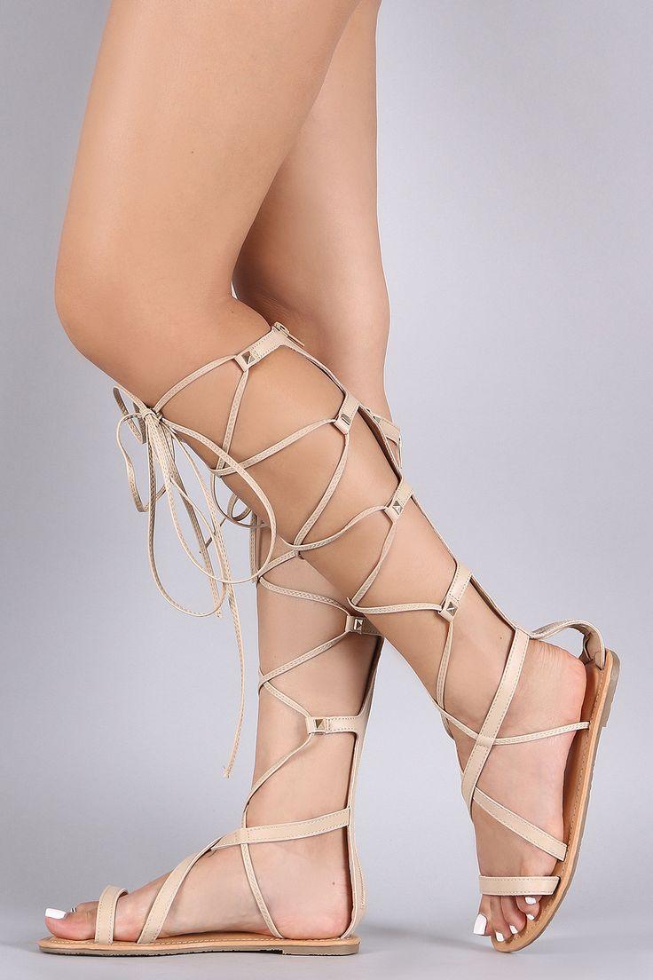 Wild Diva Lounge Strappy Studded Lace Up Gladiator Flat Sandal