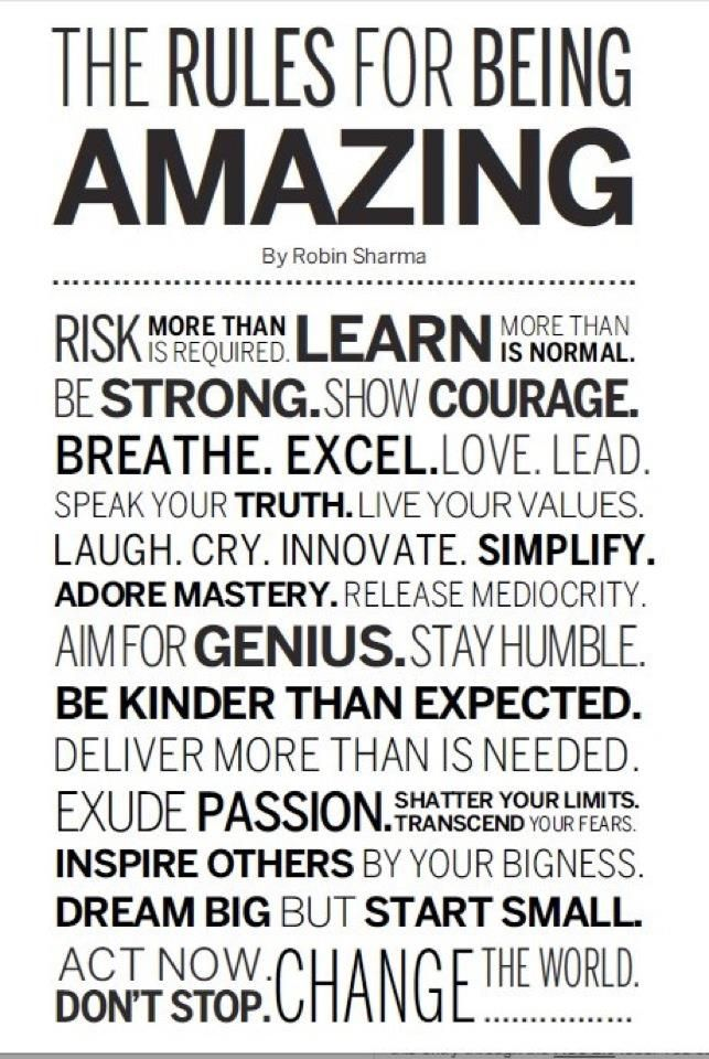 The Rules For Being Amazing! LOVE THIS! & LRF will assst you!!! www.lisareedfitness.com