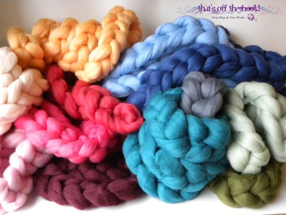 Gorgous colorful wool braids - great newborn props - super soft and available in 50+ colors  www.facebook.com/thatsoffthehook  roving big braid, basket stuffers, merino braid basket fill