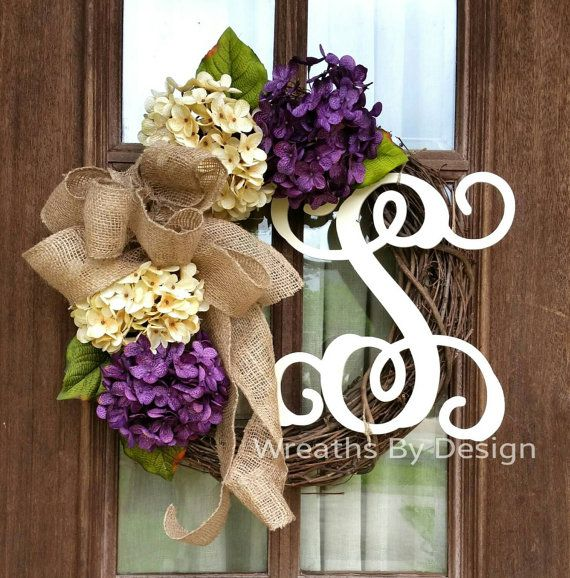 Check out this item in my Etsy shop https://www.etsy.com/listing/233306258/purple-and-cream-hydrangea-wreath-summer