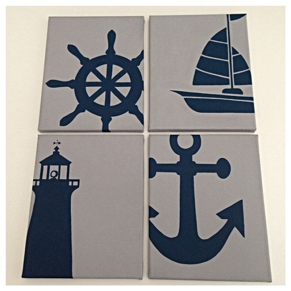 4 nautical nursery paintings in navy and gray: boat/ship, wheel, lighthouse and anchor canvas painting!