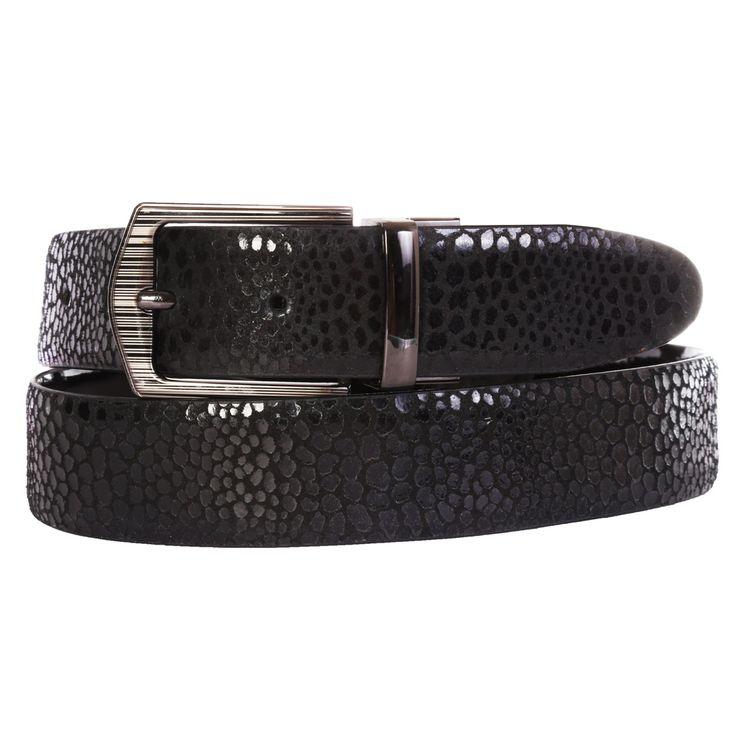 Schmick Black Genuine Leather Fine Check Design Belt For Men