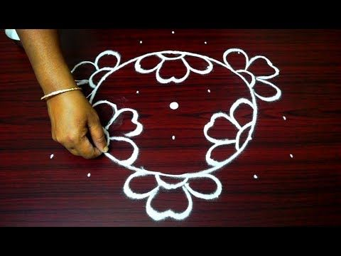 easy and creative rangoli designs with 7 dots || simple flower kolam with dots || friday muggulu - YouTube