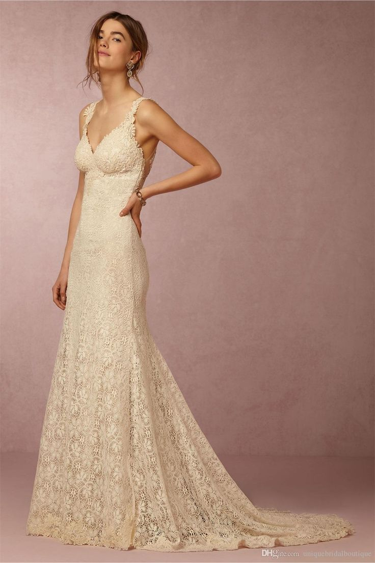 Bhldn 2016 Bohemian Wedding Dresses With Amazing Back And V Neck Fully Lace Light Champagne Bridal Gowns With Court Train Customize Designer Gown Discount Bridal Gowns From Uniquebridalboutique, $123.02| Dhgate.Com