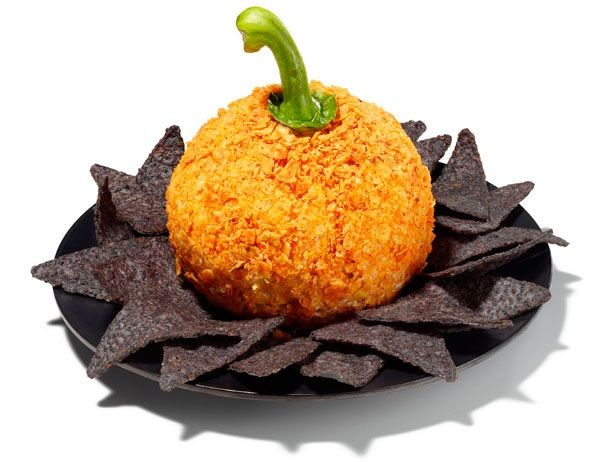 Pumpkin Cheese Ball The Cheese ball has a bell pepper stem for the top and is rolled in Dorritos - My mom made this today and it was so cute.