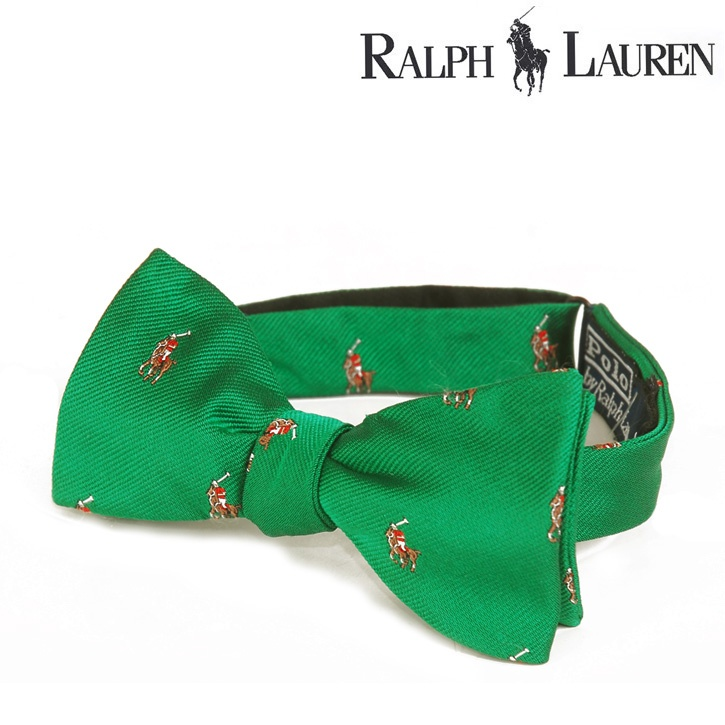 Polo Ralph Lauren(ポロラルフローレン) ボウタイ ポニー 総柄 グリーン シルク og-rl-078