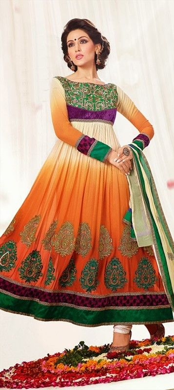 $70  Anarkali Suits, Georgette, Machine Embroidery, Lace, Orange Color Family