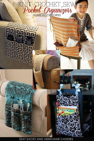 Needlecrafts - Knit,Crochet,Sew - Pocket Organizers                          Top sewn arm caddy |  Inspiration only   Top crochet stripe...