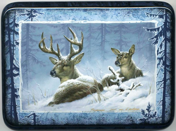 """Fedoskino. Russian Lacquer Art Titled """"Deers"""" Artist Shavrin"""