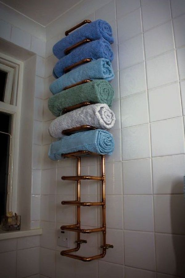Copper Pipe Towel Rail I want one of these in the kitchen with vintage Rolling pins on the wall