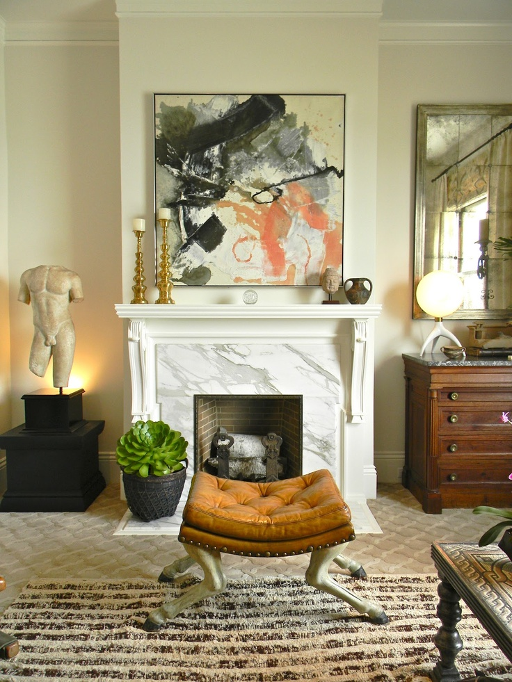 fireplace: Decor, Interior, Ideas, Living Rooms, Abstract Art, Fireplace, Painting, Design